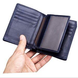 NEW Leather BullCaptain Dark Blue Wallet in Box